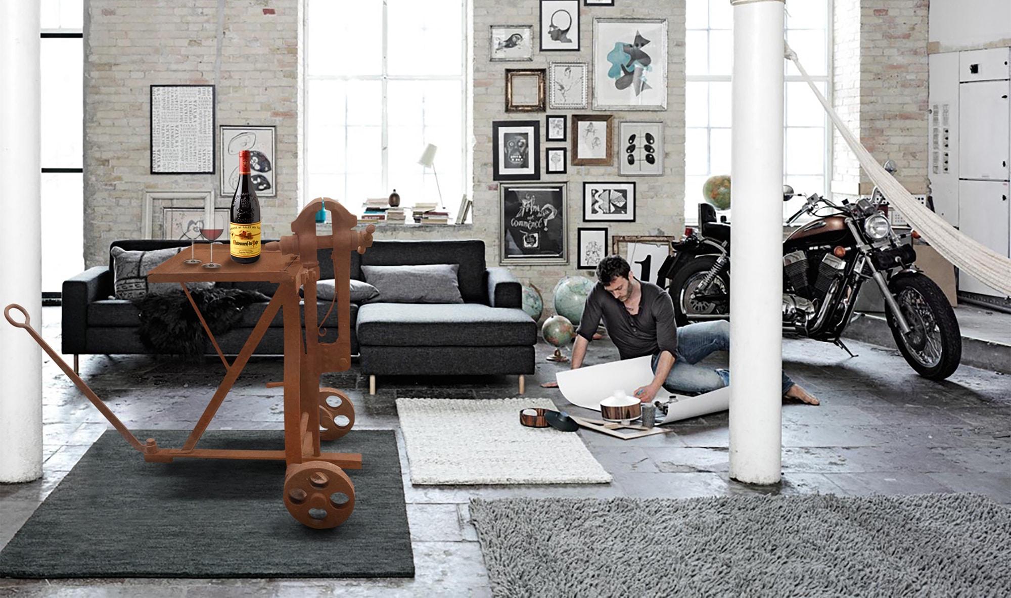 deco loft new yorkais meuble d 39 ancien garage 1900 d tourn en table. Black Bedroom Furniture Sets. Home Design Ideas
