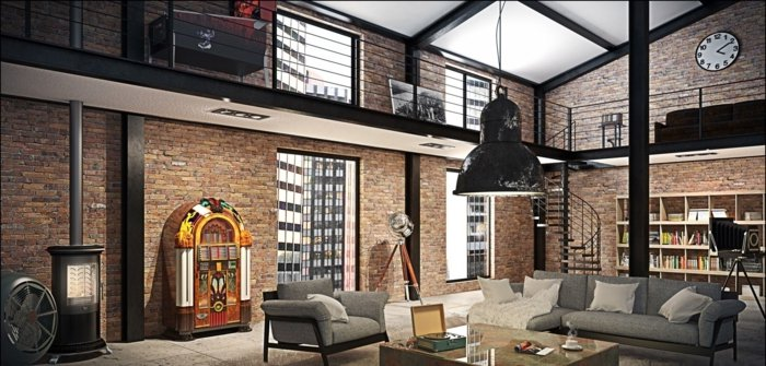 Deco loft new yorkais meuble d 39 ancien garage 1900 d tourn for Loft new york affitto