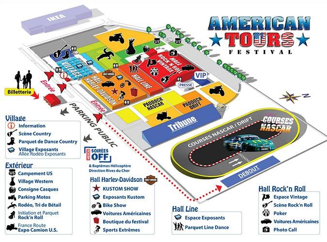 Voir programme de l'American Tours Festival rock n roll . Agenda événements auto moto de Daniela DAUDE artiste Mobilier avec pièces auto moto