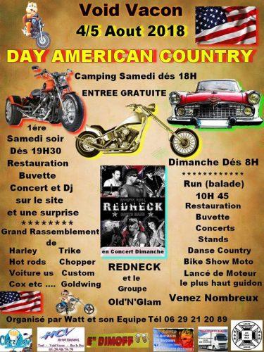Détail sur l'événement Day Americain Country Void Vacon. Agenda auto moto de Daniela DAUDE artiste, mobilier avec pièces détachées de voitures et motos