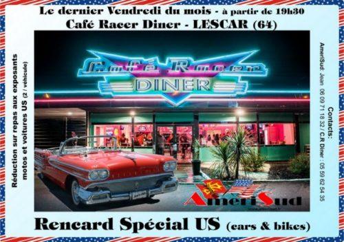 Mensuel US motos autos LESCAR dernier vendredi soir au Café Racer Diner sauf décembre janvier février Agenda événements auto moto Daniela DAUDE artiste Mobilier avec pièces auto