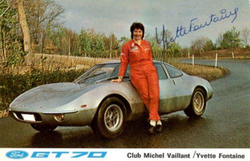 Article rédigé par Daniela DAUDE artiste mobilier avec pièces autos. Yvette Fontaine 1e pilote féminine au monde à remporter 2 fois de suite un championnat