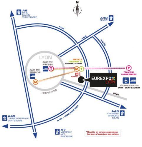 Salon du 2 roues LYON Eurexpo ATELIER DU LOFT Agenda auto moto PLAN pour les accè