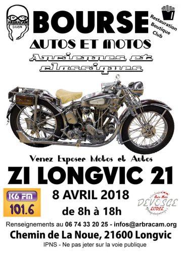 La bourse motos autos anciennes Longvic est organisée par Arbracam, déballage pour les exposants à partir de 6h face au CFA de La Noue - Agenda auto moto de Daniela DAUDE artiste mobilier avec pièces auto moto