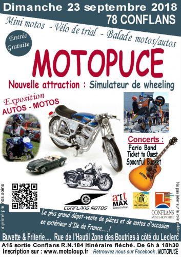 Motopuce Conflans-Saint-Honorine est la plus grande bourse extérieur de la région parisienne, concert, buvette, restauration - Agenda d'événements auto moto de Daniela DAUDE artiste, mobilier avec pièces auto