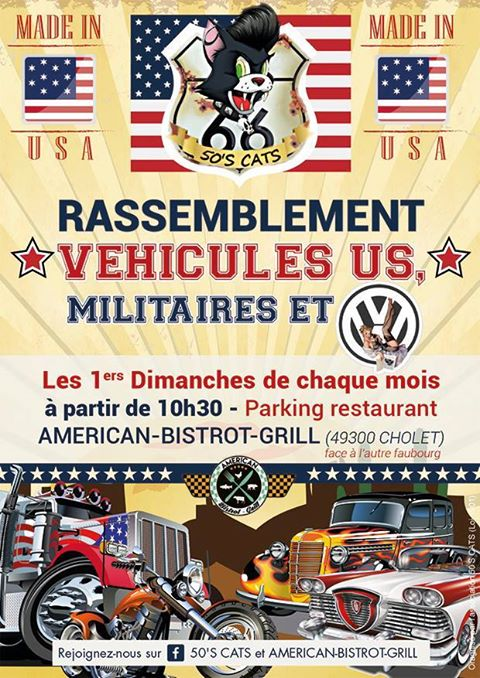Mensuel Motos made in USA CHOLET (49) 1e dimanche 50'S CATS