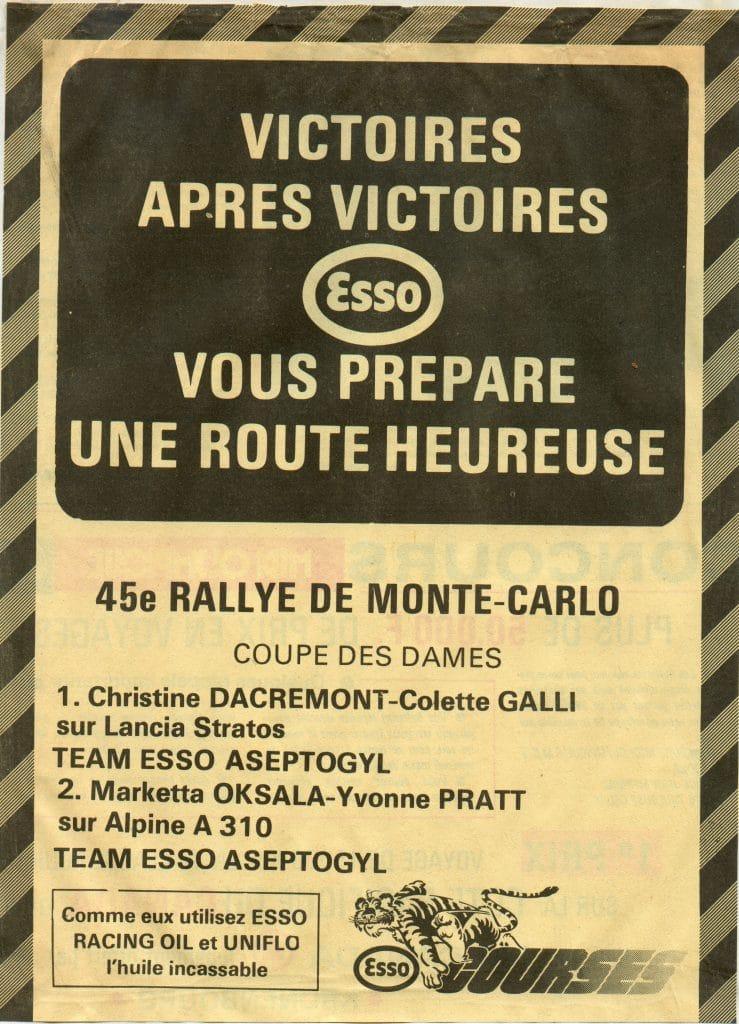 1977 Rallye de Monte Carlo Christine Dacremont vainqueur